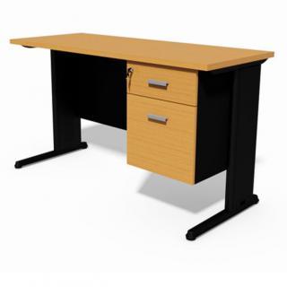 โต๊ะทำงานขาเหล็กพ่นดำมีลิ้นชัก TSS02