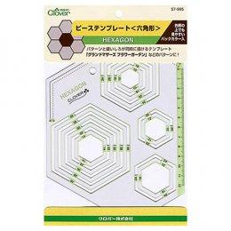 แบบวาดพลาสติก Template - Hexagon  13 ขนาด Clover