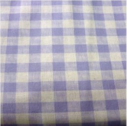 ผ้าคอตตอน+ลินิน ลายสก๊อต สีฟ้าคราม ขนาด 1/4 หลา (45 * 55 ซม.)
