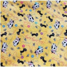 ผ้าญี่ปุ่น ลายน้องแมว สีเหลือง ขนาด 1/4 หลา (45 * 55 ซม.)