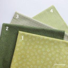 (เหลือเบอร์ 4 ) ผ้าคอตตอนญี่ปุ่น โทนเขียว ขนาด 1/4 หลา (45 * 55 ซม.)
