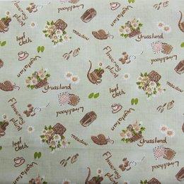 ผ้าคอตตอน ลายตะกร้า สีเขียว ขนาด 1/4 หลา (45 * 55 ซม.)