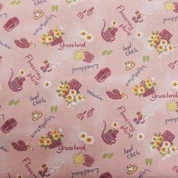 ผ้าคอตตอน ลายตะกร้า สีชมพู ขนาด 1/4 หลา (45 * 55 ซม.)