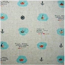 ผ้าคอตตอน-ลินิน ลายเรือใบ ขนาด 1/4 เมตร (50*55 ซม.)