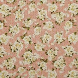 ผ้าอเมริกา กุหลาบขาว ขนาด 1/4 หลา (45 * 55 ซม.)
