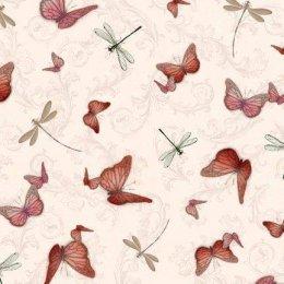 ผ้าอเมริกา ลายผีเสื้อ สีชมพู ขนาด 1/4 หลา (45 * 55 ซม.)