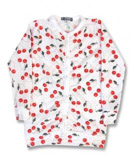 Six Bunnies CHERRY white Kinder Cardigans.