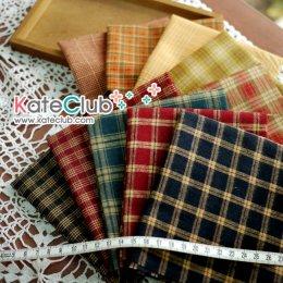 ผ้าทอ Set No.53 ลายสก็อต moda (ขนนุ่ม) ชิ้นละ 1/8 หลา x 10 ชิ้น (27x45cm)