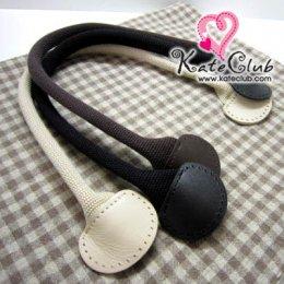SALE - (สีดำหมดค่ะ) สายกระเป๋าหูผ้าปลายหนังขอบมน **สายกลม มีช่องสำหรับเย็บ ความยาว 40 ซม. (สีน้ำตาลเข้ม/ดำ/ครีม)