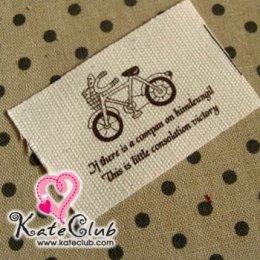 ป้ายผ้าน่ารักๆ สกรีนรูปจักรยาน (ขนาด 6.5x4.1 cm.)