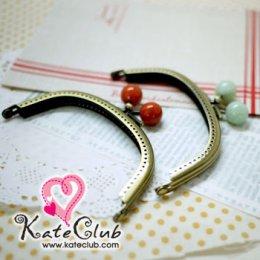 (เหลือแค่สีแดงส้ม) ปากกระเป๋าปิ๊กแป๊ก INAZUMA  ทรงโค้ง สีทองเหลือง ขนาด 10 cm **คลิกเลือกสีด้านใน