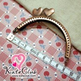 ปากกระเป๋าปิ๊กแป๊กเหล็กทรงโค้ง - ตัวบิดหัวใจเอียง สีทองแดง ขนาด 8 cm