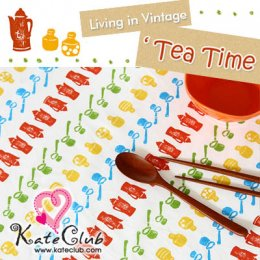 "SALE - ผ้า Cotton -  Living in vintage ""Tea Time"" pattern (1/4 หลา=45x68.5cm)"