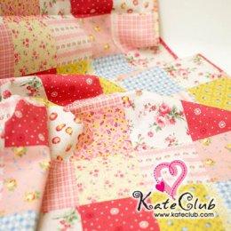 ผ้า Cotton Floral collection - โทนชมพูเหลือง (1 บล็อค = 53x110 cm)