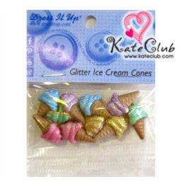 กระดุม Glitter Ice Cream Cones