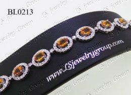 สร้อยข้อมือบุษราคัมธรรมชาติเจียระไน   (Natural Yellow Sapphire Bracelet)