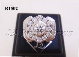 แหวนเพชรชายทรงหกเหลี่ยม 0.72-1.10 Ct. เพชร H&A