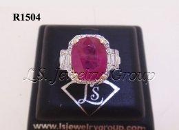 แหวนทับทิมพม่าธรรมชาติเจียระไน 5.31 Ct.