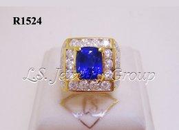 แหวนไพลินศรีลังกาธรรมชาติเจียระไนสี Royal Blue 3.30 Ct.
