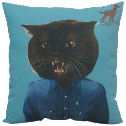 หมอนอิงรูปแมว ใส่เสื้อยีนส์