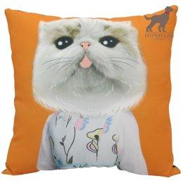 หมอนรูปแมวเปอร์เซีย พื้นหลังสีส้ม