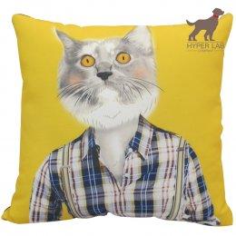 หมอนรูปแมวเปอร์เซีย พื้นหลังสีเหลือง