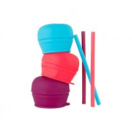 Boon - Snug Straw Silicone Sippy Purple