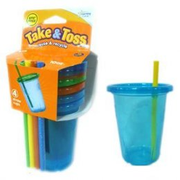 The First Years Take & Toss แก้วน้ำพลาสติกพร้อมหลอด BPA FREE