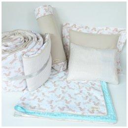 ชุดเครื่องนอนเด็ก เตียงเด็กอ่อน ผ้า Usa คอตตอน 100% ลายกระรอก