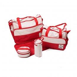 กระเป๋าสัมภาระคุณแม่ เชต 5 ชิ้น สีแดง