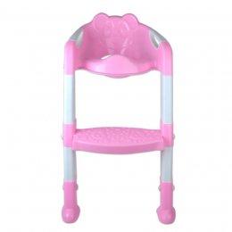 ฝารองนั่งชักโครก มีบันได สำหรับเด็กเล็ก Baby Toilet Seat with Steps (สีชมพู)