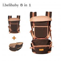 I.belibaby Carrier+Hip Seat 8 in 1 เป้อุ้มเด็ก สีน้ำตาล