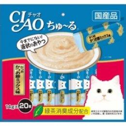 CIAO Cat Snack Churu Tuna Dried Bonito Mix14 g. (20 pcs./Pack)