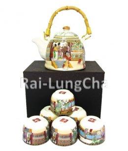 ชุดกาชา พร้อมตัวกรองและถ้วยชา 6 ชิ้น (Porcelain FilteringTea Pot with 6 cups)