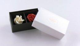 C70205C กล่องลาย Prosperity ขาว 2 ช่อง DIA: 12.2x6.9x5 cm
