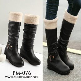 [พร้อมส่ง 36,37] [PM-076]Pangmama รองเท้าบู๊ทสีดำเนื้อหนังบุขนด้านในใว่กันหนาวลุยหิมะได้ไม่เปียกค่ะ
