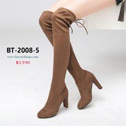 [พร้อมส่ง 36,37,38,39,40,41,42,43]  [BT-2008-5] Boots รองเท้าบ๊ทยาวส้นสูงสีกากี ด้านหลังผูกเชือก ซับขนด้านในกันหนาว ใส่แล้วสูงเพรียว คู่นี้ใส่เข้าได้กับทุกชุด แนะนำคะ