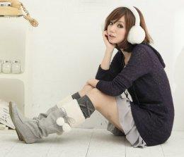 [[พร้อมส่ง 39]] [CW-148] CatWorld++รองเท้า++รองเท้าบูทสีเทาผ้าสำลีทรงสูง แจ่งขนสีขาวและติ่งน่ารักๆค่ะ