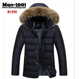 [*พร้อมส่ง M,L,XL,2XL,3XL ] [Man-1001] เสื้อโค้ทกันหนาวผู้ชายสีดำผ้าซับขนเป็ดหนา ฮู้ดเฟอร์ถอดได้ ใส่กันหนาวติดลบ