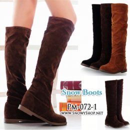 [[พร้อมส่ง 37]] [Boots] [Pm-072-1] Pangmama รองเท้าบู๊ทยาวสีน้ำตาลบู๊ทหนังกลับซับขนกันหนาวด้านใน