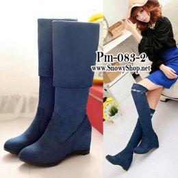 [[พร้อมส่ง 36,37,38,39]] [Boots] [Pm-083-2] Pangmama รองเท้าบู๊ทสูงสีน้ำเงินกำมะหยี่ สามารถพับได้ตามสะดวก แนะนำค่ะสวยมาก