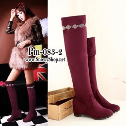 [[*พร้อมส่ง37,38,39, ]] [Boots] [Pm-083-3] Pangmama รองเท้าบู๊ทสูงสีไวน์แดงกำมะหยี่ สามารถพับได้ตามสะดวก แนะนำค่ะสวยมาก
