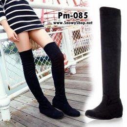 [พร้อมส่ง 36,37,38,39,40,41,42,43] ] [Boots] [Pm-085] Boots รองเท้าบู๊ทหนังกำมะหยี่สีดำ ด้านในบุขนกันหนาวหนังนิ่มใส่เลยหัวเข่า เสริมส้นด้านใน 3cm