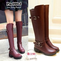 [พร้อมส่ง 36,37,38,39] [Boots] [Pm-090-3] รองเท้าบูทยาวสีแดง หนังPu ใส่กันน้ำ กันหนาว กันหิมะสวยมากๆ