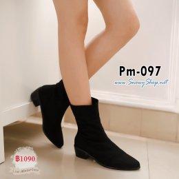 [พร้อมส่ง 36,37,38,39,40,41,42,43] [Boots] [Pm-097] Pangmama รองเท้าบู๊ทสั้นสีดำผ้ากำมะหยี่ สามารถพับได้ ซับขนกันหนาวด้านใน ส้นรองเท้าหนาสวยค่ะ