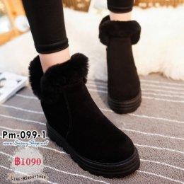 [พร้อมส่ง 36] [Boots] [Pm-099-1] รองเท้าบูทสั้นสีดำ มีซิปข้าง แต่งขนเฟอร์ด้านในซับขนกันหนาว กันน้ำ เล่นหิมะได้เลยค่ะ
