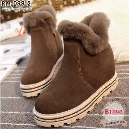 [พร้อมส่ง 36,37,38,39] [Boots] [Pm-099-2] รองเท้าบูทสั้นสีน้ำตาล มีซิปข้าง แต่งขนเฟอร์ด้านในซับขนกันหนาว กันน้ำ เล่นหิมะได้เลยค่ะ