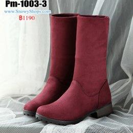[พร้อมส่ง 36,37,38,39,40,41,42,43,44,45] [Pm-1003-3]  รองเท้าบู๊ทสั้นสีแดง ด้านในเท้าซับขนกันหนาว เป็นบูทครึ่งแข้ง พื้นหนาเดินหิมะได้