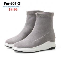 [พร้อมส่ง 36,37,38,39,40,41,42,43] [Pm-601-2] Boots รองเท้าบู๊ทสั้นสีเทา ผ้ากำมะหยี่ ใส่เดินสบายไม่เมื่อย เหมาะกับทุกชุด (รุ่นนี้ไม่ซับขนด้านใน)