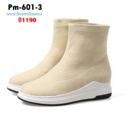 [พร้อมส่ง 36,37,38,39,40,41,42,43] [Pm-601-3] Boots รองเท้าบู๊ทสั้นสีครีม ผ้ากำมะหยี่ ใส่เดินสบายไม่เมื่อย เหมาะกับทุกชุด (รุ่นนี้ไม่ซับขนด้านใน)